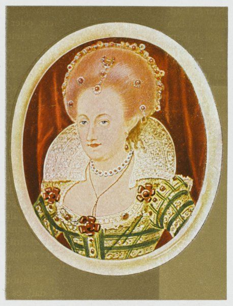 QUEEN OF JAMES I Oval miniature portrait