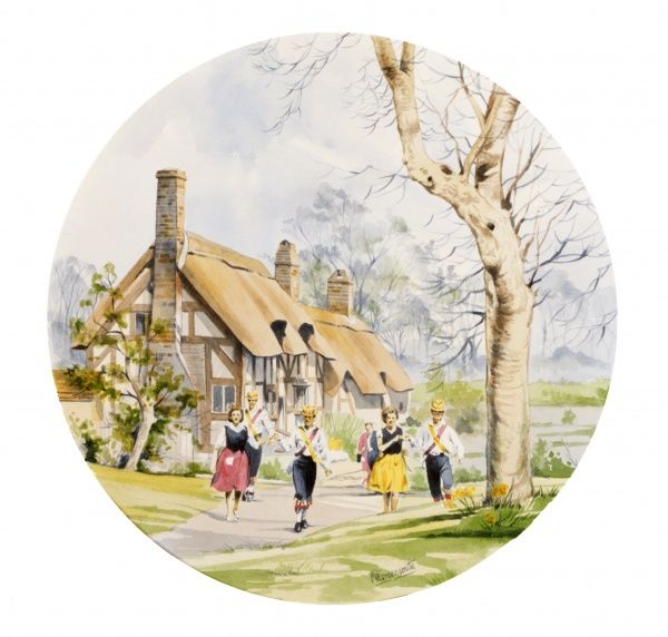 Morris Dancers performing in front of Anne Hathaway's Cottage in Stratford-upon-Avon. Painting by Malcolm Greensmith