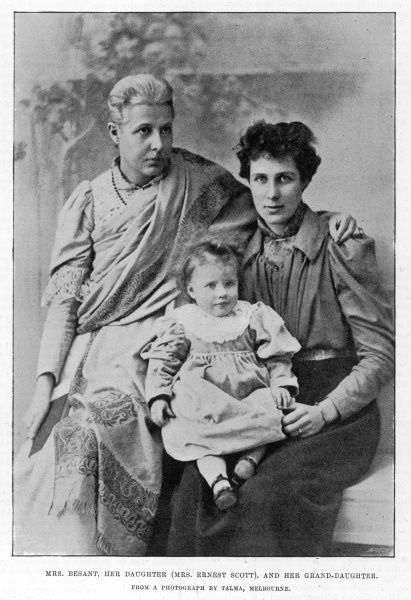 Annie Besant (1847-1933) British social reformer, women's rights activist and supporter of Indian nationalism, pictured with her daughter Mable (Mrs Ernest Scott) and her granddaughter, Muriel