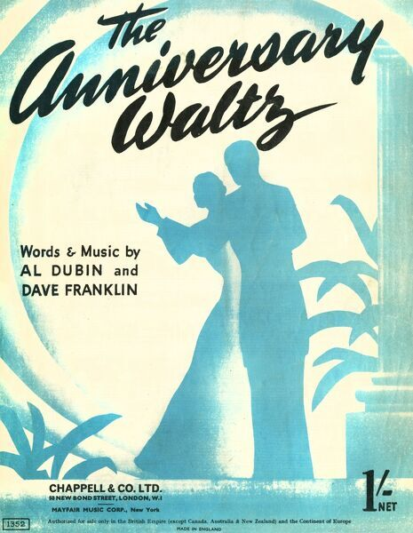 Front cover of a music sheet for the Anniversary Waltz by Al Dubin and Dave Franklin, featuring a silhouette of a couple dancing together alone. Date: 1941