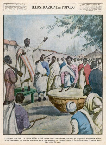 A man summons the people of the village with the sounds of a drum to hear the announcement of victories in Addis Ababa