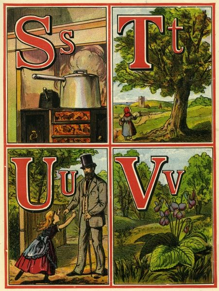 Page from a 19th century alphabet book with S for saucepan, T for tree, U for uncle and V for violets