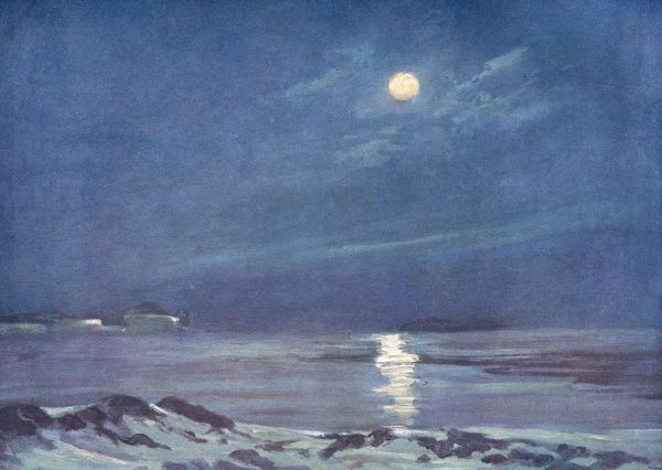 Full Moon in the Antarctic, as seen by Shackleton's expedition. Date: circa 1907