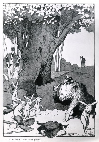 An anti-German cartoon by a French satirical cartoonist, showing some French rabbits making fun of a large German boar during the First World War. Date: 1914-1918