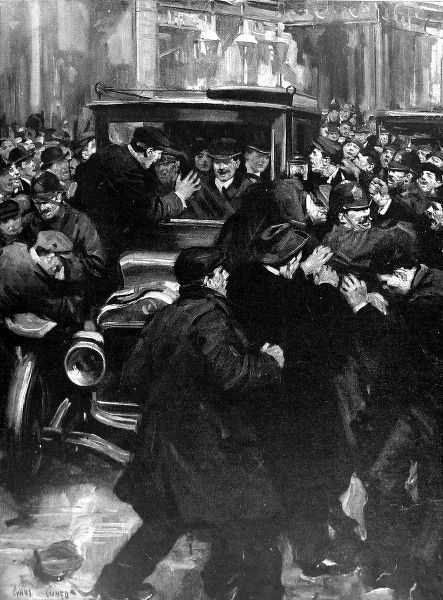 Illustration showing a crowd of anti home-rulers attacking the car carrying Winston Leonard Spencer Churcill (1874-1965), then First Lord of the Admiralty, and his wife as they attempted to drive through Belfast to the Celtic Park Football Ground
