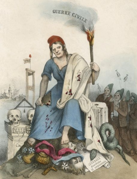 REPUBLIC WHICH GOOD CITIZENS DON'T WANT - cartoon opposing revolutionary extremism : Marianne holds the torch of civil war and the shrouds of three prominent victims
