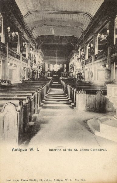 Antigua, West Indies - Interior of St John's Cathedral Date: circa 1903