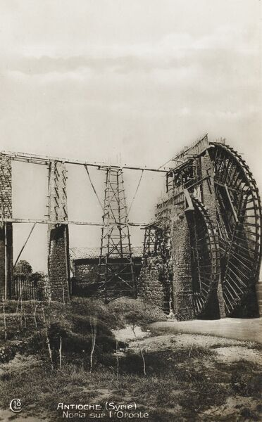 Antioch - Antakya (Turkish) - on the Orontes River in the far south of modern Turkey. One of the large waterwheels for which Antioch is famed. Date: 1930s