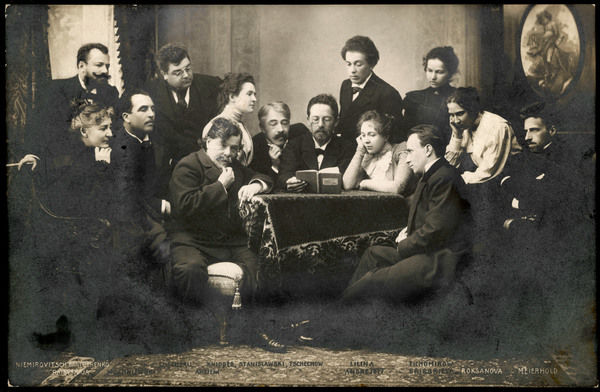 Anton Chekhov, Russian writer (1860-1904) at the centre of a group of people from the Moscow Art Theatre -- Constantin Stanislavski on his right, Olga Knipper (Chekhov's wife) to Stanislavski's right, Lilina Andreyev to Chekhov's left