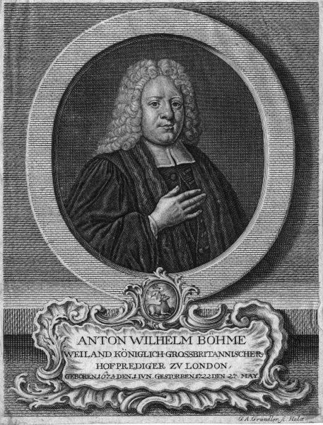ANTON WILHELM BOEHM German chaplain to the court of George I at St James' palace, London. Date: 1673 - 1722