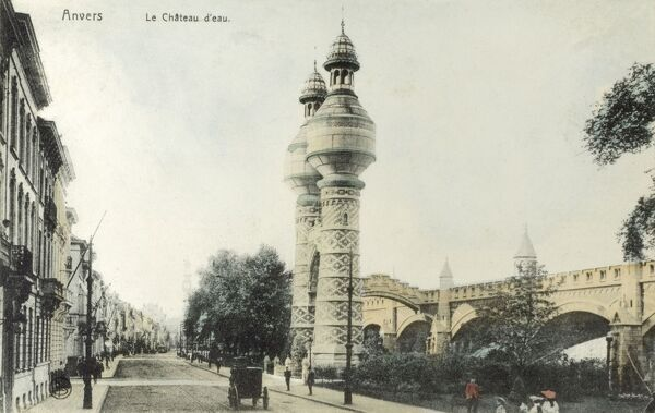 Antwerp, Belgium - Chateau D'eau (two fabulously ornate water towers) and the 'New Railway Station, Date: circa 1900