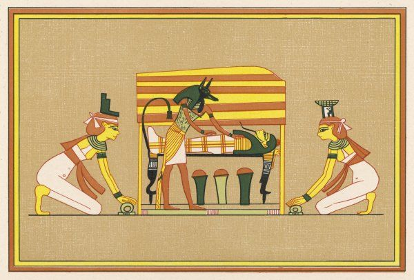 Anubis, who has the head of a jackel, ministers to Osiris attended by Isis and Nephthys
