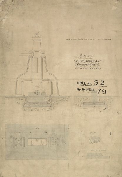 Anvil and base plate for a 25 cwt steam hammer, plan, front elevation and details Date