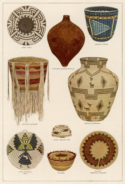 Various types of basket made by the Apache people of Arizona ; some, such as the water bottle (centre, top) are watertight