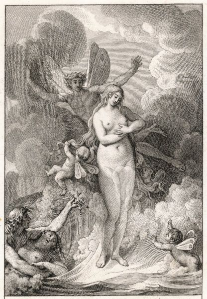 Aphrodite/Venus is born from the sea-foam, surrounded by aerial and marine creatures