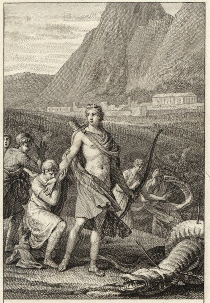 He slays the dragon Python, who guards the sacred site of Delphi, establishing his own sanctuary there, angering Zeus who exiles him for several years
