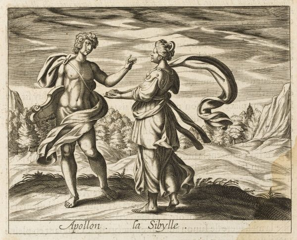 Apollo promises his lover Sibyl she may live as many years as she can hold grains of sand ; she becomes very aged, no more than a voice - the oracular Sibyl of Cuma