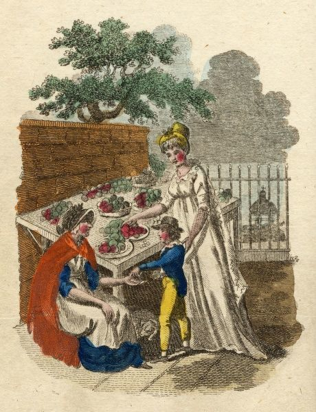 A street trader selling Coxes Pippins apples; she assures her lady customer they are 'choice fruit madam&#39