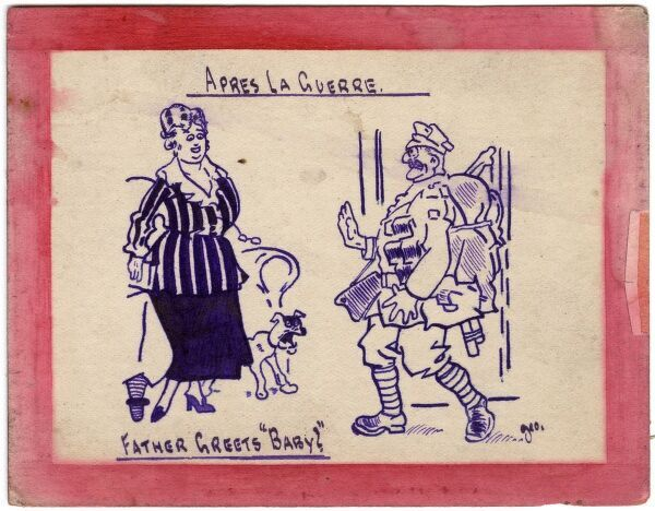 Humorous postcard from the WWI era by George Ranstead, an amateur artist who served in the Army Pay Corps