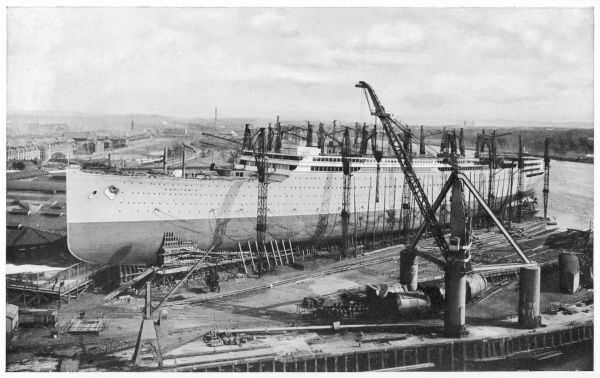 'AQUITANIA' The Cunard ship Aquitania, on the stocks in the process of construction. 901 feet in length. Scrapped in 1950