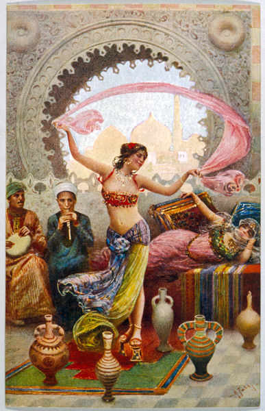 A Middle Eastern Belly Dancer dancing with a veil to musical accompaniment