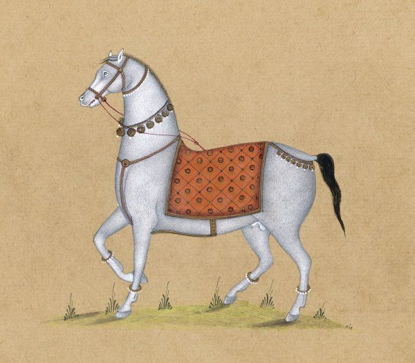 This may be a Persian or an Indian painting : in either case the horse may well be an Arab. The accoutrements show that it is something special