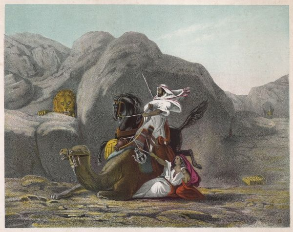 'Adventure in the desert' - an Arab on horseback and his wife and child on a camel are surprised in the desert by a very fierce looking lion