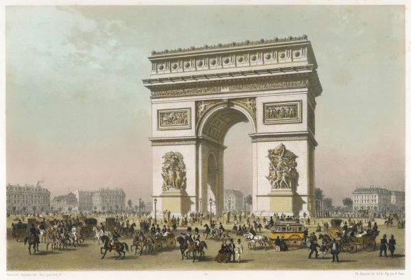 People milling about around the Arc de Triomphe de l'Etoile, from the Paris side