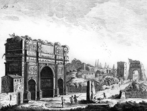 The ruins of the Arch of Constantine in Rome in the 18th century. The Arch was built in the 4th century AD to commemorate the battle of Milvian bridge in 312 AD. Date: 4th century / Circa 1760