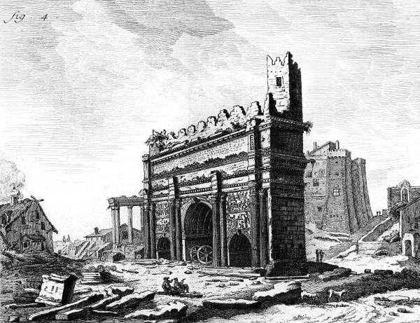 The ruins of the Arch of Septimus Severus built after the Parthian Victories at the end of the Roman Forum. The Arch is seen here in the 18th century. Date: 3rd century / Circa 1760