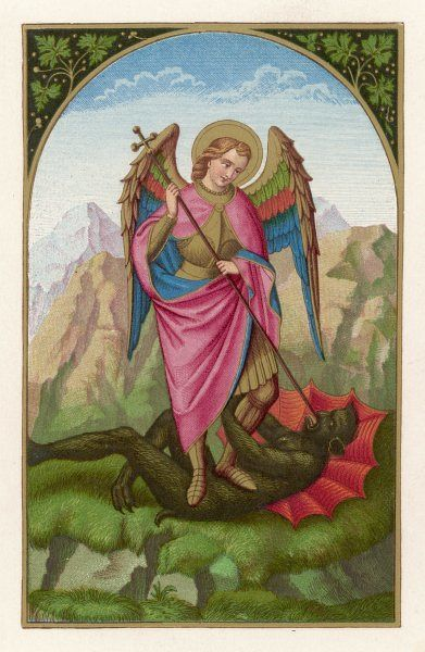 SAINT MICHAEL, who combines the roles of angel and saint, overcomes Satan in single combat - but not permanently, as the Devil continues to plague mankind