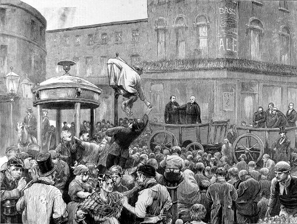 Engraving showing Archbishop Manning administering the pledge, before a large audience on Clerkenwell Green, London, 1872