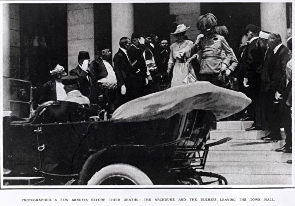 Archduke Franz Ferdinand of Austria and the Duchess leaving the town hall moments before they were assassinated