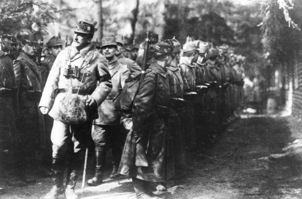 Archduke Joseph August Viktor Klemens Maria of Austria, Prince of Hungary and Bohemia (1872-1962). Seen here inspecting troops on the Romanian Front during the First World War. Date: 1917