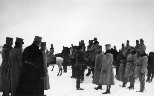 Archduke Karl Franz Josef of Austria (1887-1922), future Emperor of Austria (Charles I of Austria, 1916-1918), seen here standing, centre, bids farewell to the divisional staff of the 7th Brigade