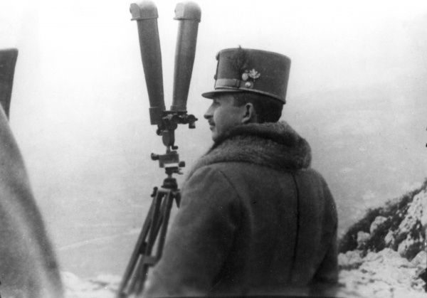 Archduke Karl Franz Josef of Austria (1887-1922), future Emperor of Austria (Charles I of Austria, 1916-1918). Seen here with a telescope on the Italian Front during the First World War. He served as a General Field Marshal in the Austro-Hungarian Army