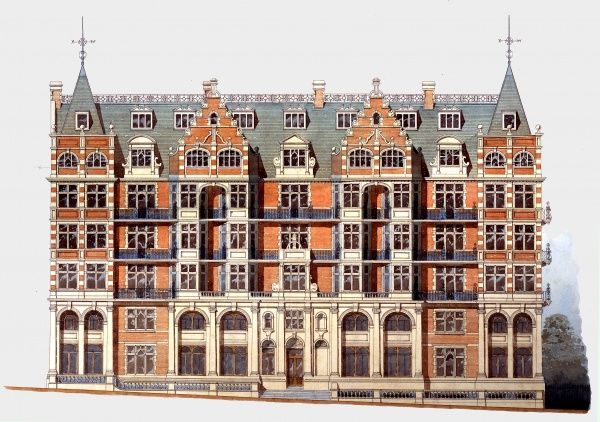 Architect's proposed front elevation, IMechE HQ, Storey's Gate, 1896