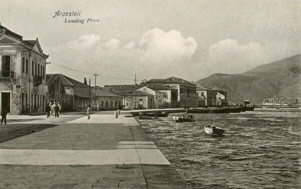 The harbour at Argostoli, the capital and administrative centre of Kefalonia, Greece. Buildings that weren't shattered by German bombing in 1943 were destroyed in 1953 by an earthquake that razed virtually all of Kefalonia to the ground&quot