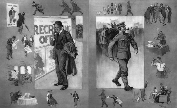 Illustration by Frank Reynolds showing the advantages of volunteering for the war, against the self-conscious doubts of a man who has not enlisted