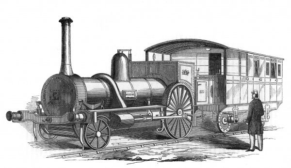 A light locomotive engine on four wheels, with carriages attached. Exhibited by W.B Adams, designer and patenter, during the Great Exhibition in Hyde Park, 1851. Date: 1851