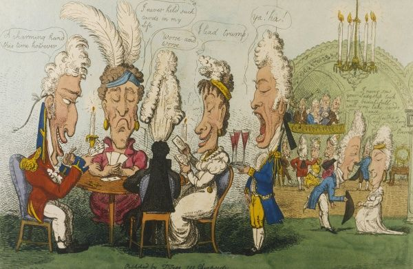 'A long-headed assembly!': an aristocratic group play a hand of cards at a formal party while others dance in the background