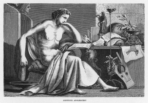 ARISTOTLE Greek philosopher as a young man, reading at his desk