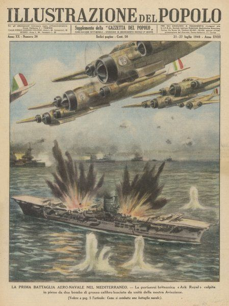 The British aircraft-carrier 'Ark Royal' is attacked by waves of Italian warplanes who damage her severely with two direct hits