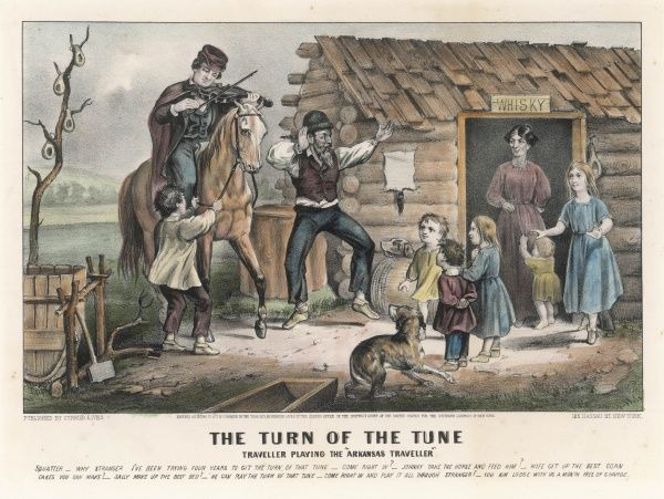 A travelling musician plays the folk classic, the ARKANSAS TRAVELLER to the delight of a farming family who invite him in and offer him hospitality if he will play it for them