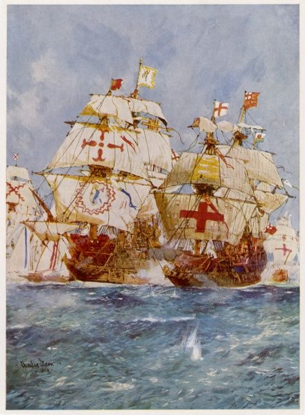 THE SPANISH ARMADA Lord Howard in the 'Ark Royal' attacks Medina Sidonia in the 'San Martin&#39