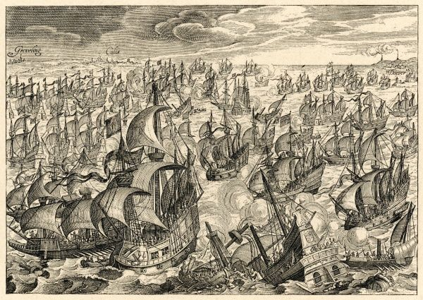 THE SPANISH ARMADA The Spanish fleet attacked by the English ships in the Channel