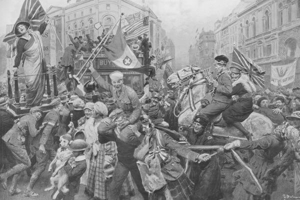A scene at Piccadilly Circus in central London giving an impression of victory celebrations at the end of World War I. Various soldiers join civilians and even dogs in a melee of joyful flag waving and cheering