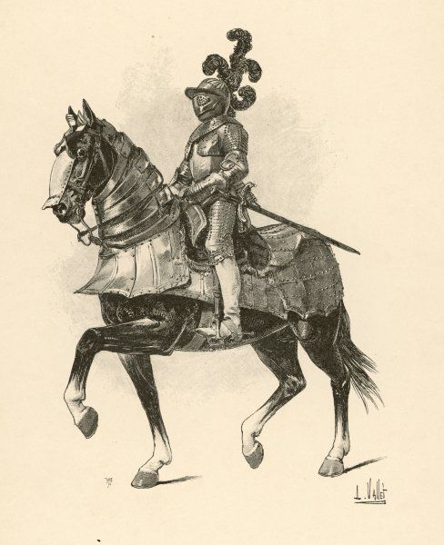 A French horse-soldier, period of Philippe le Bel : both man and horse are well protected against bowmen, though the horse seems dangerously vulnerable to infantry