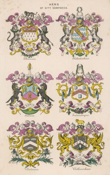 Arms of six London city companies - Skinners, Haberdashers, Salters, Ironmongers, Vintners and Clothworkers