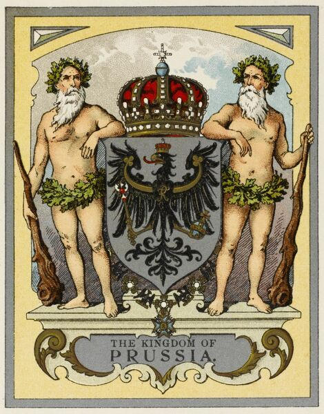 The arms of the Kingdom of Prussia - flanked by two elderly heraldic chaps with strategically-placed foliage and bearing large clubs